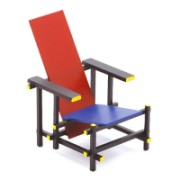 Design 1:12 nukkekodin tuoli Design tuoli Red Blue Chair Gerrit Rietveld(1923) k.7.3 x p.5.5 x s.7cm